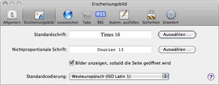 Safari Font-Einstellungen