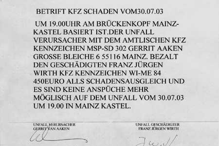 Betrift KFZ-Schaden...