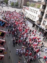 Fans des Mainzer Fussballvereins in der Innenstadt