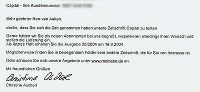 Brief von Capital