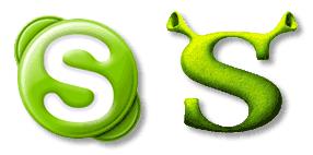 Skype- und Shrek-Logo