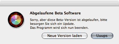 Abgelaufene Beta-Software