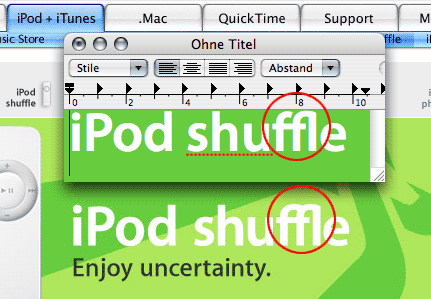 iPod shuffle Typoanalyse