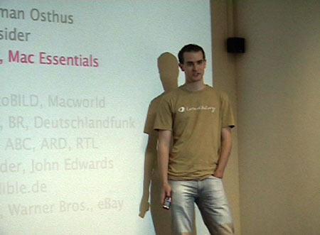 Gerrit bei seinem Vortrag �ber Podcasting & Loudblog