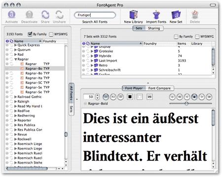 Screenshot von FontAgent Pro