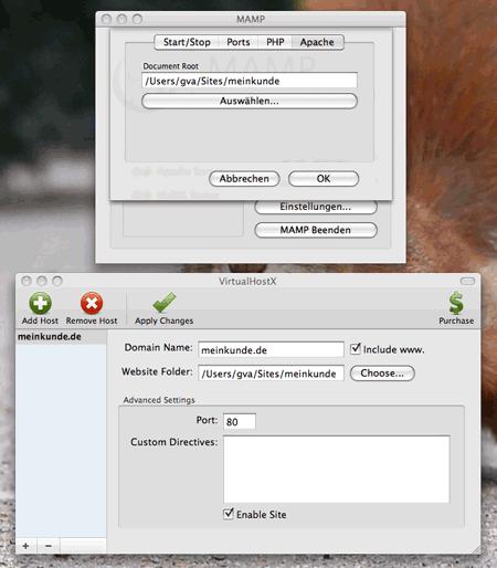 MAMP und VirtualHostX