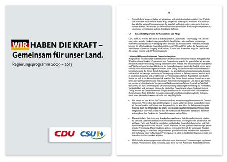 CDU/CSU Wahlprogramm 2009