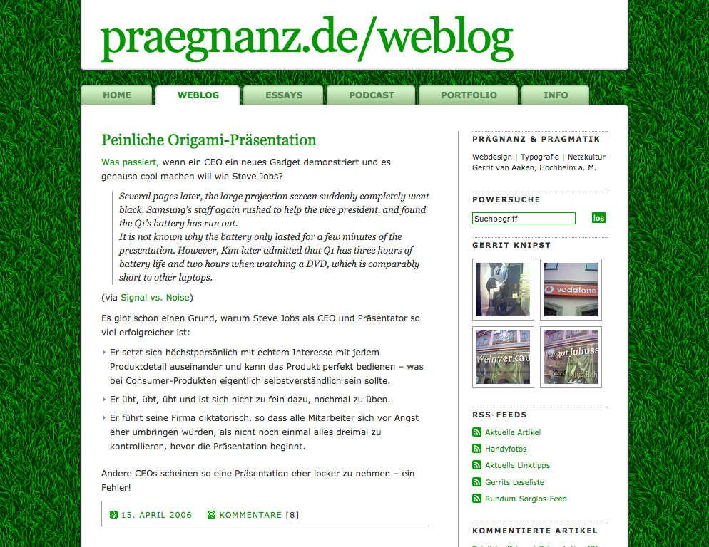 Screenshot von praegnanz.de v2