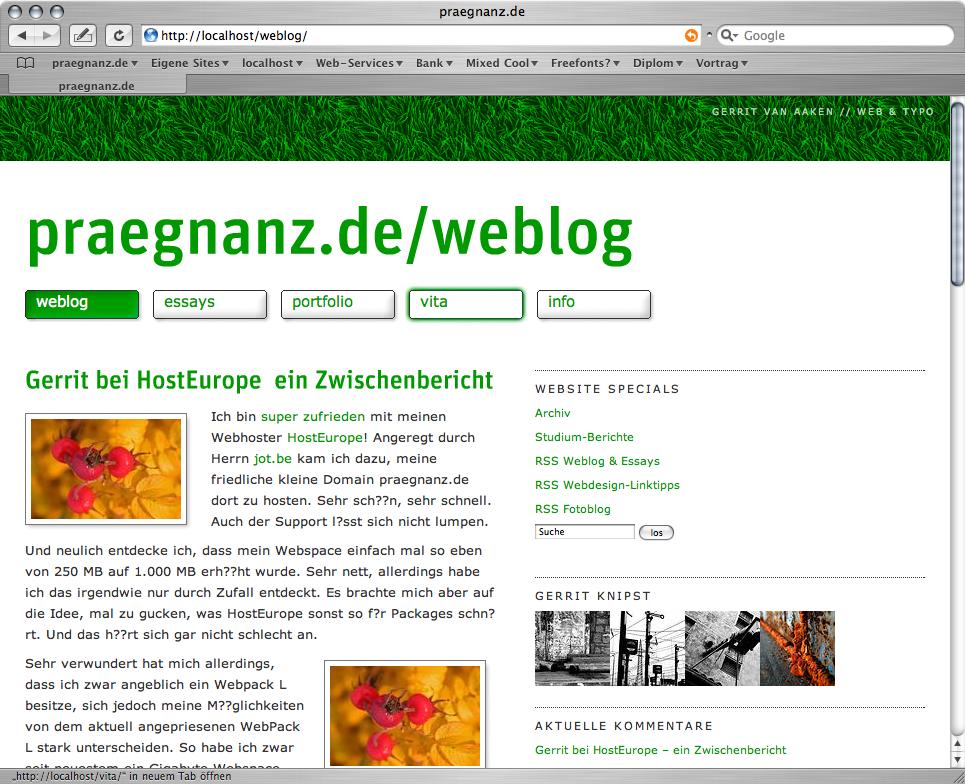Screenshot von praegnanz.de v2.5
