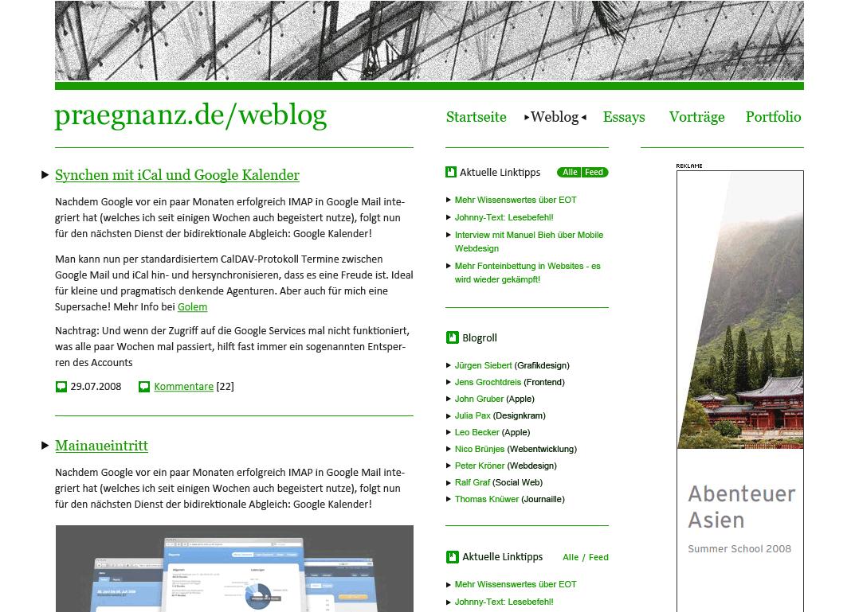 Screenshot von praegnanz.de v4.5