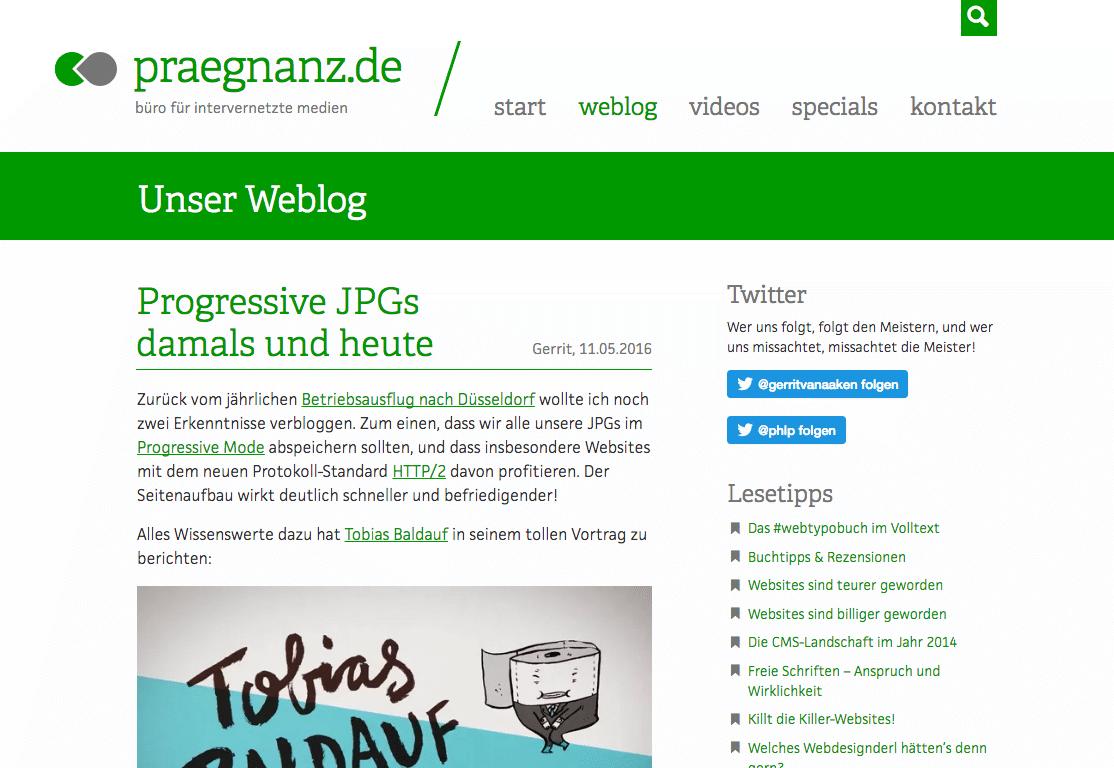 Screenshot von praegnanz.de v6